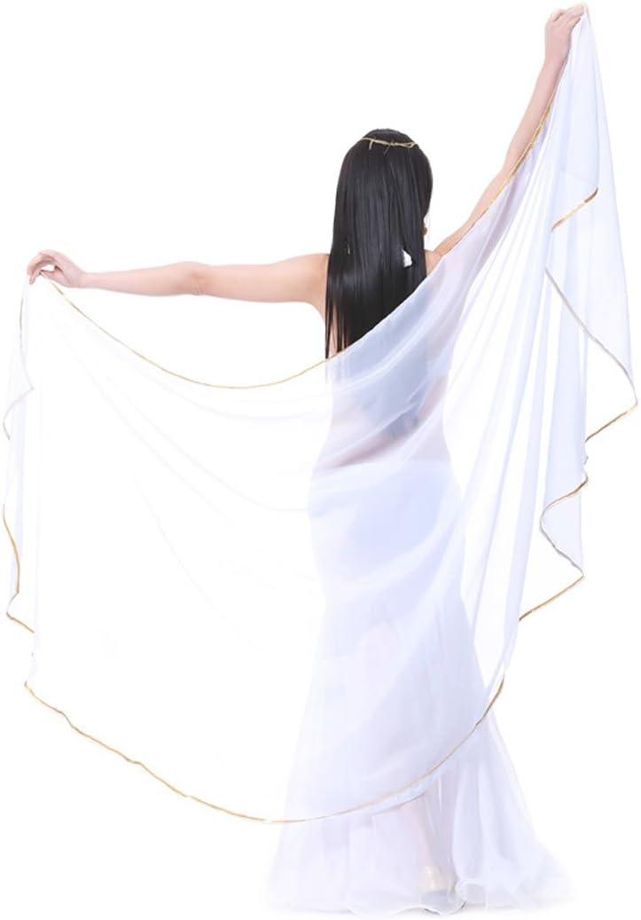 Calcifer  250×120センチ シフォン 半円 ベリーダンス スカーフ ベール アクセサリー 女性用 プロダンサー ホワイト