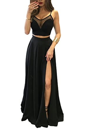TBGirl Sexy Black Two Piece Side Split Spaghetti Strap Long Evening Dresses