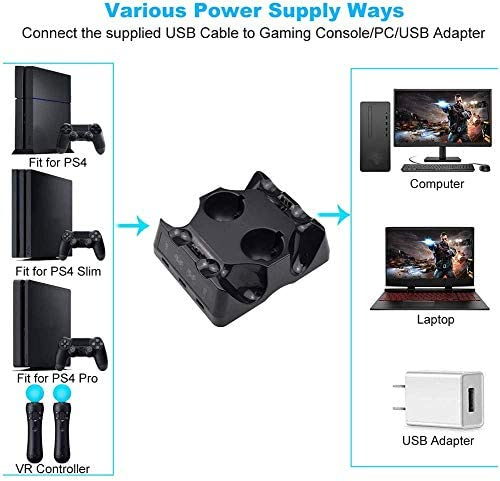 4 in 1 PS4 Controller Charger[Upgraded Version], Quad Charging Staion, 3 USB Interface Charging Desk for Sony Playstation 4/PS4/PS4 Pro/PS4 Slim/PS Move with LED Indicator 51xNDTxmBCL