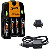 Xtech 4 AA Ultra High Capacity 3100mah Rechargeable Batteries with AC/DC Travel Turbo Quick Charger for Tiny Love Take Along Mobile