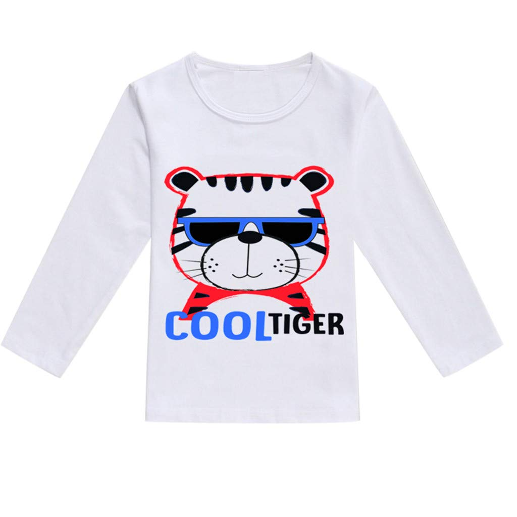 NUWFOR Toddler Baby Kids Boys Girls Spring Cartoon Print Tops T-Shirt Casual Clothes(Blue,12-18 Months)