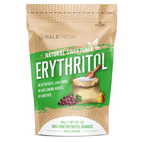 Erythritol Sweetener Natural Sugar Substitute 1lb - Granulated Low Calorie Sweetener High Digestive Tolerance Suitable for Diabetes Keto and Paleo - Perfect Baking Substitute Non GMO
