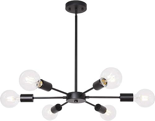 Black Sputnik Chandelier 6 Lights Mid Century Chandelier Ceiling Light Industrial Pendant Lighting for Kitchen Dining Room Bedroom by MELUCEE
