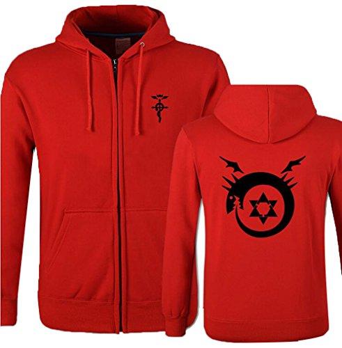 Poetic Walk Fullmetal Alchemist Printed Cosplay Hoodie Jacket (Large, 01-Red)