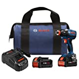 Bosch IDH182-B24 18V EC Brushless 1/4'' and 1/2'' Socket-Ready Impact Driver Kit with (2) CORE18V Batteries, Blue