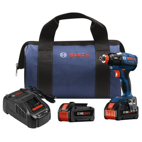 Bosch IDH182-B24 18V EC Brushless 1/4'' and 1/2'' Socket-Ready Impact Driver Kit with (2) CORE18V Batteries, Blue by Bosch