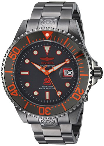Invicta Men's 'Pro Diver' Automatic Stainless Steel Diving Watch, Color:Grey (Model: (Diving Automatic Orange Dial)