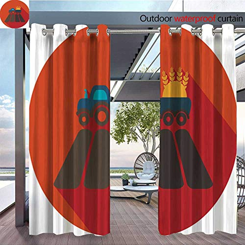 utdoor Single Panel Print Window Curtain Tractor on Field Flat icon with Long Shadow Silver Grommet Top Drape W96 x L108/Pair ()
