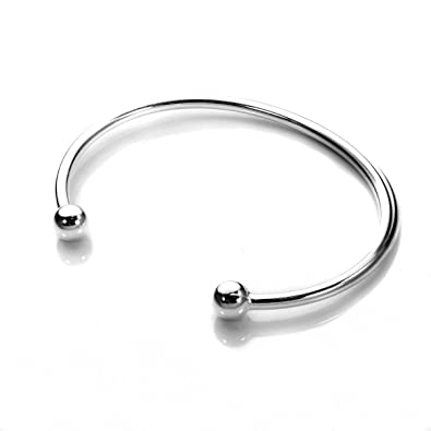 ANTOMUS® HANDMADE BOY OR GIRL BABY TORQUE BANGLE - BRITISH MADE - SOLID STERLING SILVER vObXMT