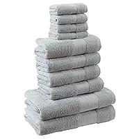 Dreamscene–lujo 100% algodón egipcio 10piezas juego de toalla de baño Set de regalo de baño de cara mano, plata gris, 10unidades)