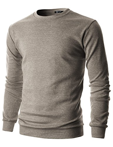 GIVON Mens Slim Fit Lightweight Crew Neck Sweatshirt/DCS006-BROWN-L