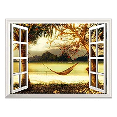 Dazzling Visual, Professional Creation, Removable Wall Sticker Wall Mural Beautiful Tropical View with a Hammock Creative Window View Wall Decor