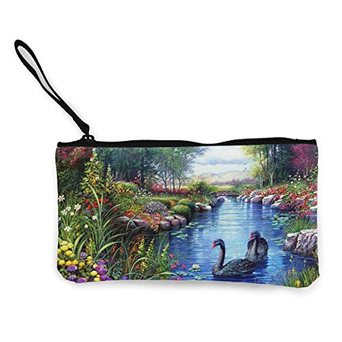 Terany Canvas Pencil Case - Black Swans Cosmetic Makeup Bag Zipper Closure Coin Purse Wallet Custom Phone Pouch with Handle for Women, Girls, Boys