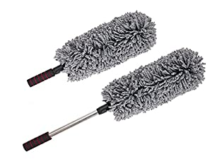 AutoZiv Car & Home Microfiber Duster - Best Exterior & Interior Use - Lint Free - 2 Piece Cleaning Kit - Long Unbreakable Extendable Telescopic Handle