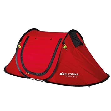 a3627080c14 Eurohike Pop Up 200 SD 2 Man Tent, Red, One Size: Amazon.co.uk ...