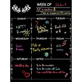 NABLUE Fridge Magnetic Calendar Board Weekly Meal Planner, Dry Erase Calendar Magnetic Chalkboard Design Family Calendar Organiser- 30 x 40 cm Weekly Menu Planner with Grocery List and Notes
