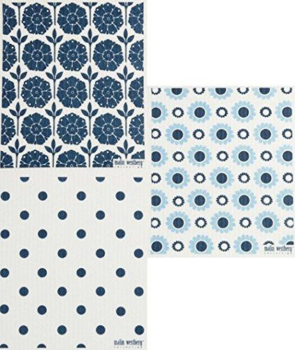 Swedish Dishcloths/Sponge Cloths: Packs of 3 Different DARK BLUE Designs (3 Dark Blue - Floral + Dots)