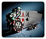 Lunarable Poker Tournament Mouse Pad, Gambling Chips and Pair Cards of Aces Casino Wager Games Hazard Print, Rectangle Non-Slip Rubber Mousepad, Standard Size, Red Blue