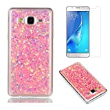Fit for Samsung Galaxy On5 / G550 Case with Screen Protector,OYIME Slim Rubber [Glitter Pink Sequins] Shiny Bling Luxury Design Scratch Resistant Protective Back Cover with Clear Transparent Bumper