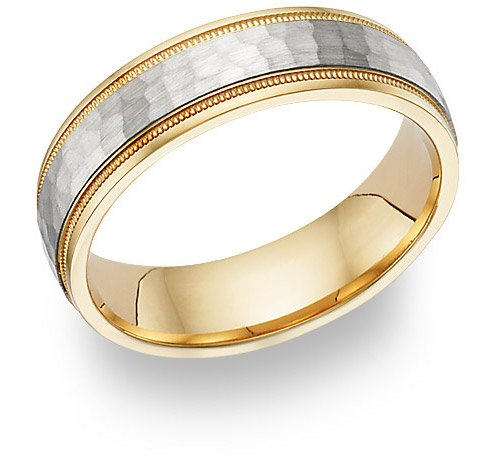 Hammered Wedding Band Ring - 14K Two-Tone Gold