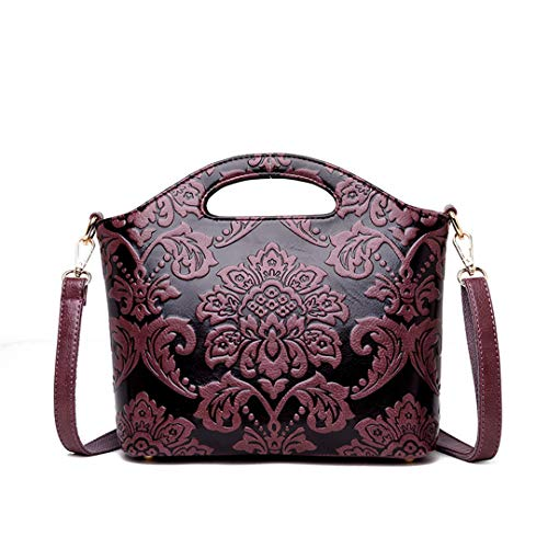 (Flowers Handbags Women Embossed Leather Shoulder Bags Ethnic National Style Crossbody Bag Totes purple red)