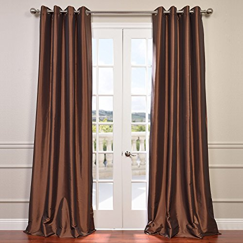 CH-BO209-108-GR Grommet Blackout Faux Silk Taffeta Curtain, Copper Brown ()