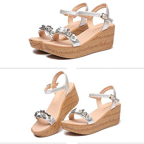 Sandals ZHIRONG Summer Women's Slope Waterproof Platform Open Toe Thick Bottom Flowers Rhinestone Beach Shoes Slippers (Color : Gold, Size : EU35/UK3/CN34) Silver