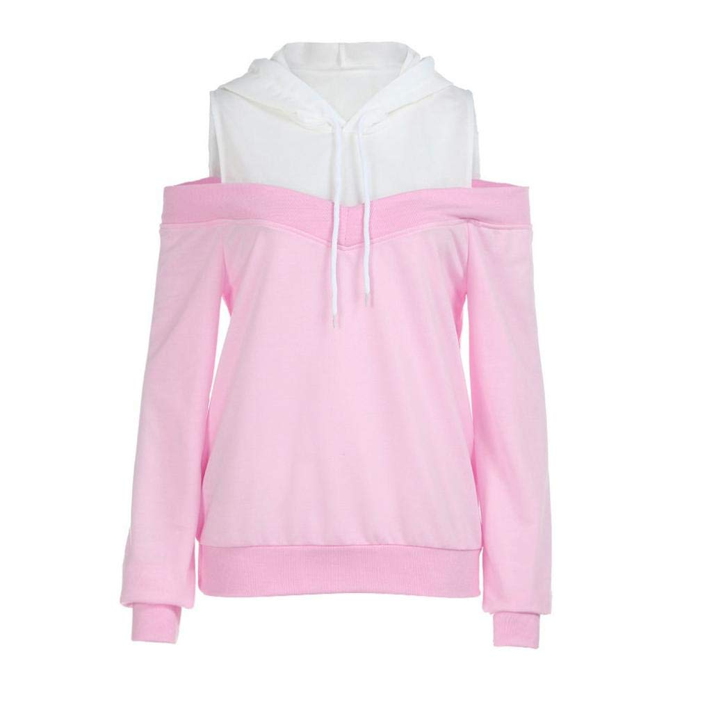 Women Hooded, Off Shoulder Sweatshirt Patch Tops Blouse, Womens Hoodie Sweatshirt Pullover Tops (Pink, L)