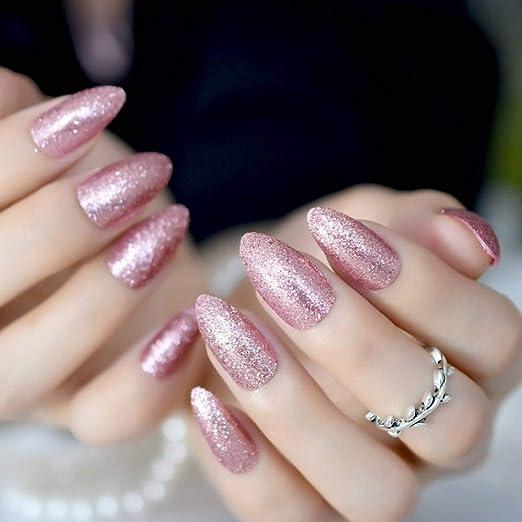 JZJZJ - Juego de 24 uñas postizas en Forma de Almendra, Oro Rosa ...