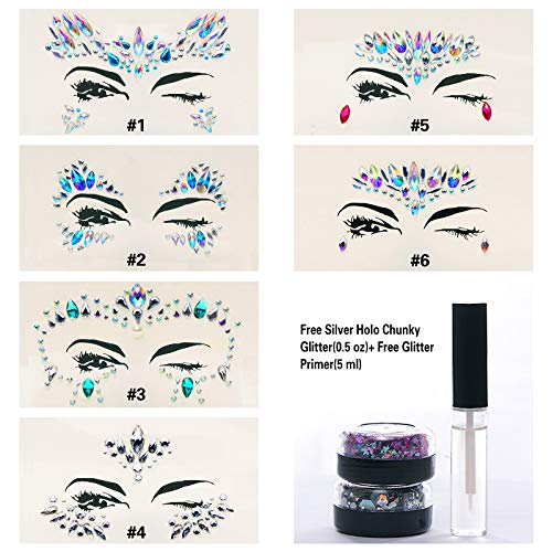 6 Sets Mermaid Body Chest Face Eyes Gems Rhinestones Jewels Crystals Jewelry Stickers Temporary Tattoo for Music Festival Party Carnival+Free Chunky Glitter+Glitter Glue By GADGETS ENTREPOT(Pack #13) -