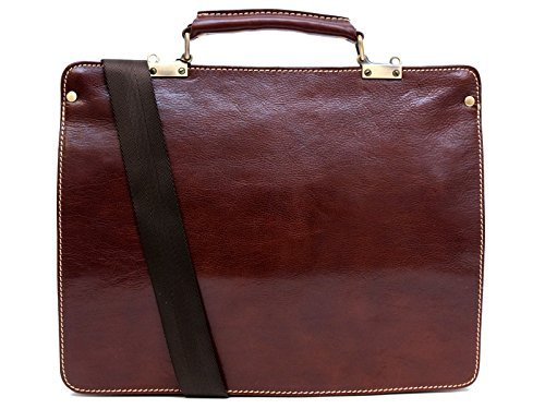 Leather zipped folder executive document folder bag file folder brown shoulder bag folder by ItalianHandbags
