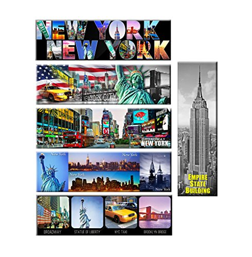 Pack of 6 - New York Panoramic Photo Magnets NYC Souvenir Gift Set 5x1.6 Inches (Refrigerator York New Magnet)