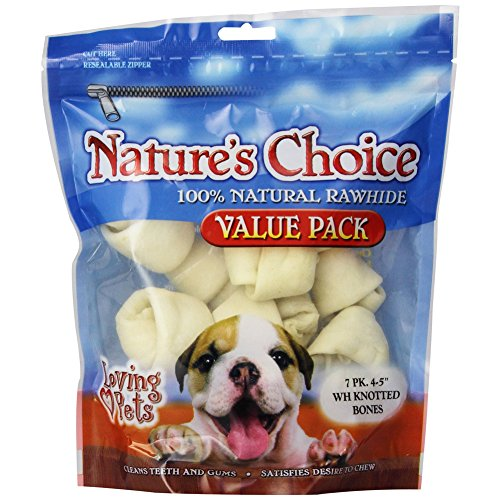 Loving Pets Nature's Choice 100-Percent Natural Rawhide White Knotted Bones Value Pack Dog Treat, 4-5-Inches, 14 Count (Bones Knotted White Rawhide)