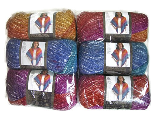 Lion Brand Yarn Shawl in a Ball Yarn, 6-Pack (Restful Rainbow, 828-201) by Lion Brand