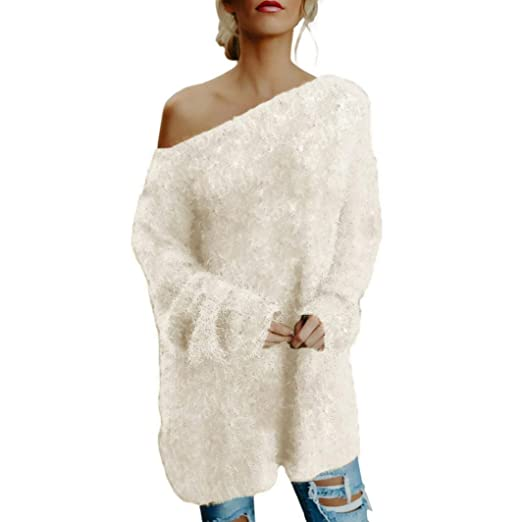 Amazon.com  REYO  S-XL  🌻 Womens Sweatshirt Off Shoulder Faux Fur Dress Long  Sleeve Pullover Daily T-Shirt Blouse Tunic Tops  Clothing a7a2f476b