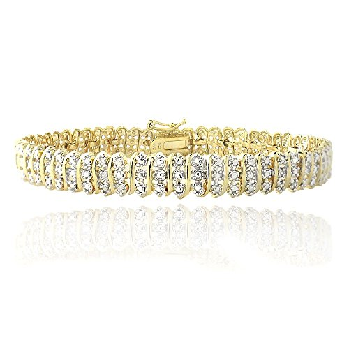1.00ct TDW Natural Diamond S Link Tennis Bracelet in Gold Plated Brass by Jawa Fashion