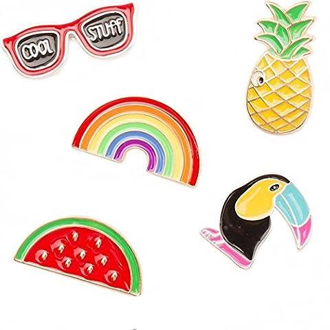 Kalapure Crow Pineapple Sunglasses Rainbow Watermelon Cute Brooches Pins Badge for Girls Children - Enamel Floral Brooch Pin