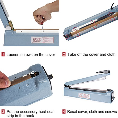 Metronic 16inch/400mm Manual Impulse Manual Hand Sealer Heat Sealing Machine Poly Tubing Plastic Bag with 2 Replacement Kit Blue by Metronic (Image #6)
