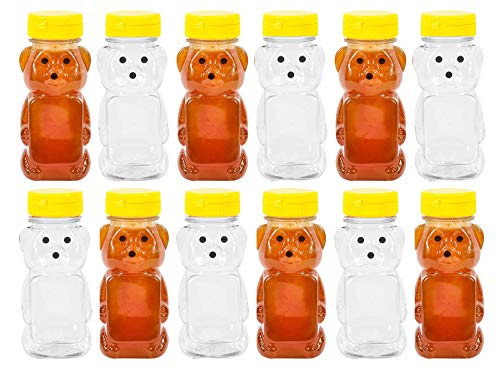 - PLASTIC 8 OZ BEAR SQUEEZE HONEY BOTTLE EMPTY WITH YELLOW FLIP-TOP CAPS (12)
