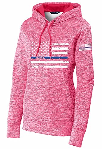 Limited Edition Ladies Distress American Thin Blue Line Flag Pink Electric Sport-Tek PosiCharge Fleece Hooded Pullover - Small -
