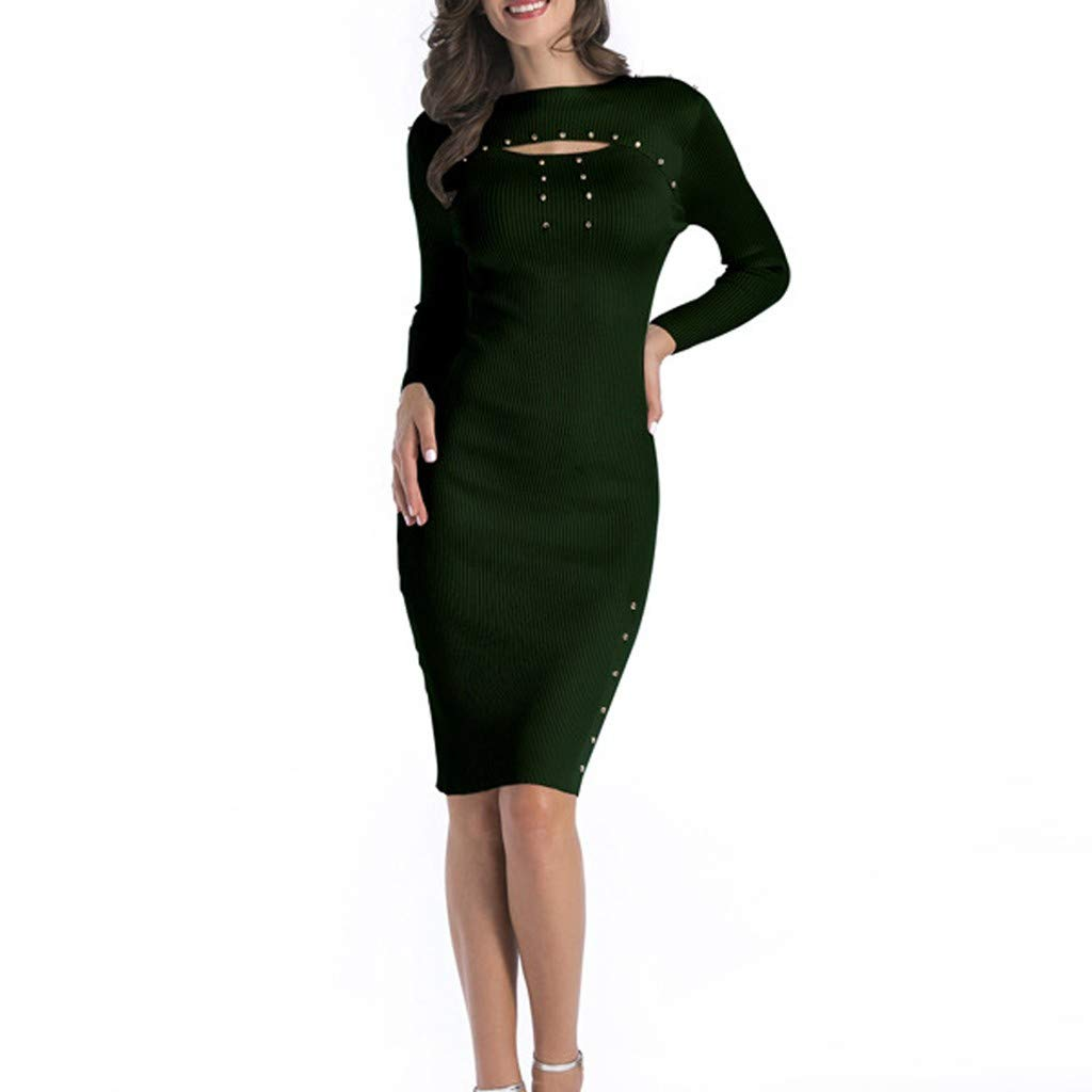 ZIYOU Damen Langarm Bodycon Kleider Slim fit Lange Tunika Pullover Knielang Kleid Herbst Winter Party Club