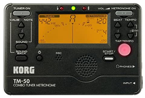 Korg TM50BK Instrument Tuner and Metronome, Black (Musical Instrument Accessories)