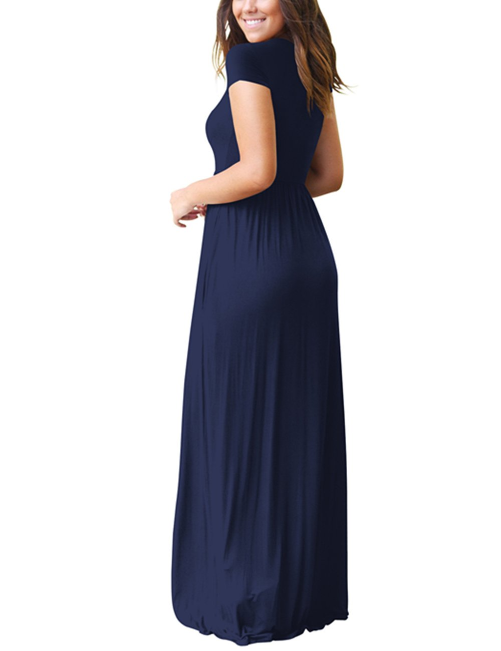 ORQ Women's Short Sleeve Loose Plain Casual Long Maxi Tunic Dress With Pockets by ORQ (Image #3)