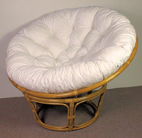 Rattan Papasan Sessel inkl. hochwertigen Polster , D 110 cm , Fb. honig , Polster weiß