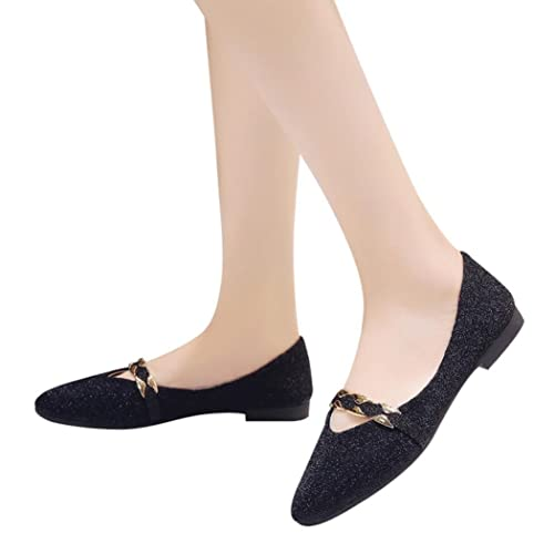 7d09b85a8a2 Fheaven (TM) Women Pointed Toe Loafers Moccasins Sequins Shallow Slip On  Low Heel Flat