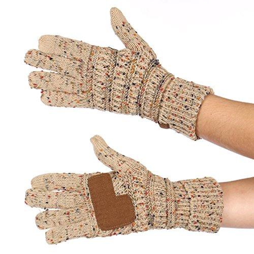 Serenita C C Unisex Cable Knit Confetti Smart Touch Winter Warm Touchscreen Texting Gloves Latte