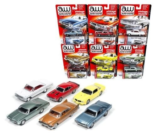 Auto World New 1:64 Premium Series Release 5A Collection - Vintage Muscle & Classic Chrome Set Diecast Model Car Set of 6 - Set Fury Plymouth