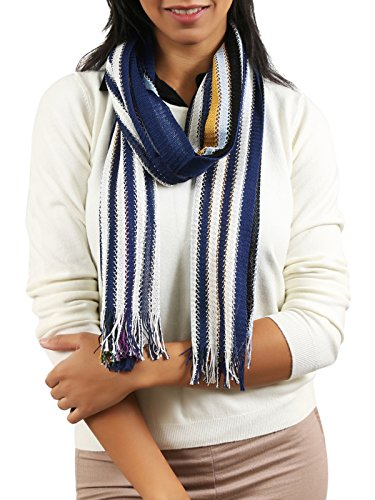 Missoni Navy/Mustard Striped Scarf for Womens ()