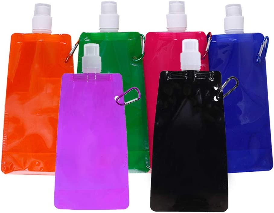 Bolsa de agua Plegable Botella,Reutilizable agua de plástico Botella agua aventura plegable agua Botella de agua potable deportiva Portátil con clip para ciclismo deportivo aire libre senderismo