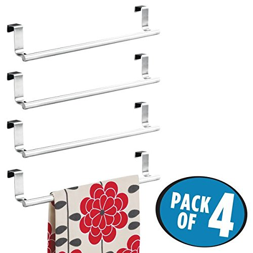 mDesign Decorative Kitchen Over Cabinet Towel Bar - Hang on Inside or Outside of Doors, Storage and Display Rack for Hand, Dish, and Tea Towels - 14'' Wide, Pack of 4, Brushed Stainless Steel by mDesign